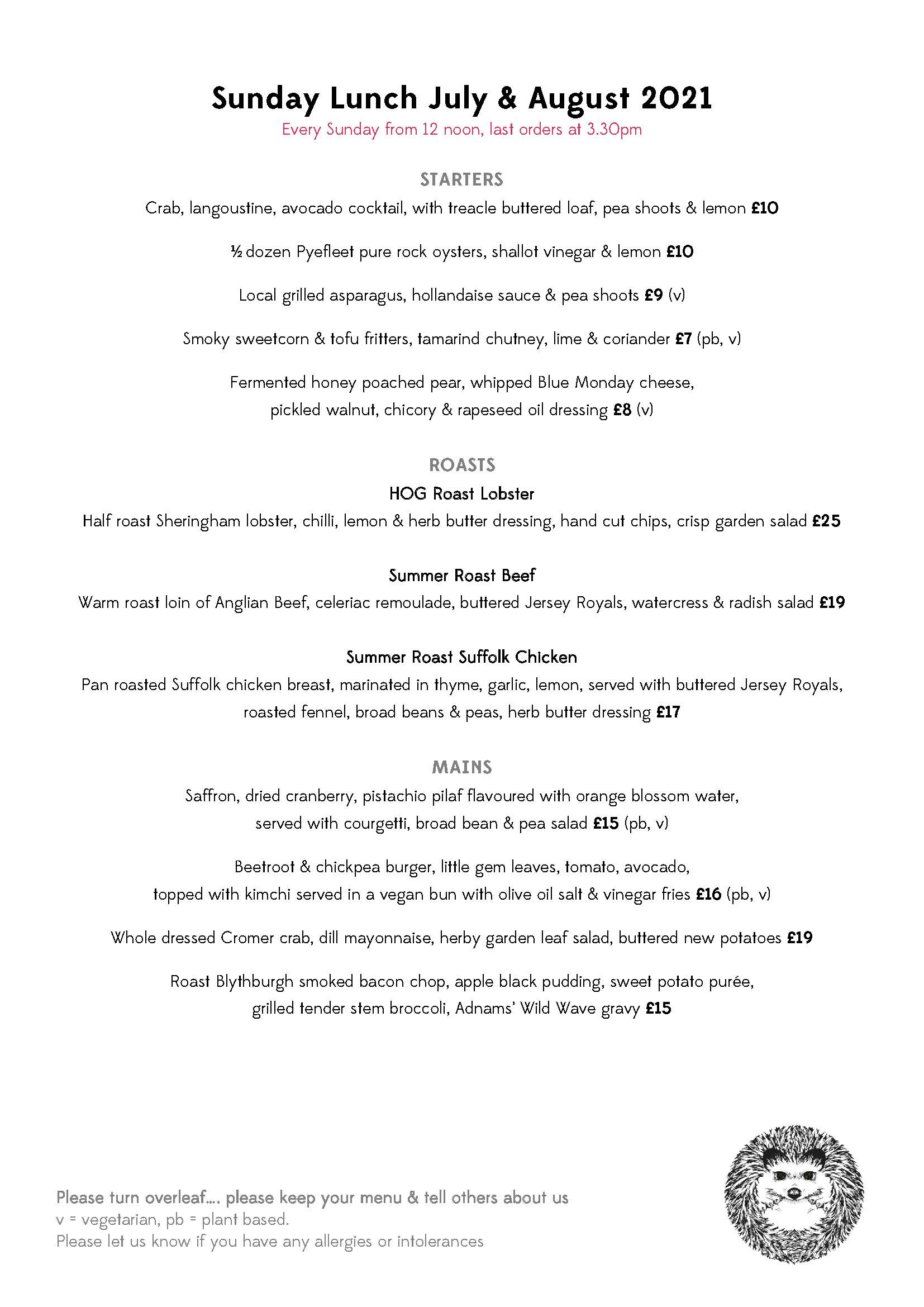 Sunday Lunch Menu July August 1