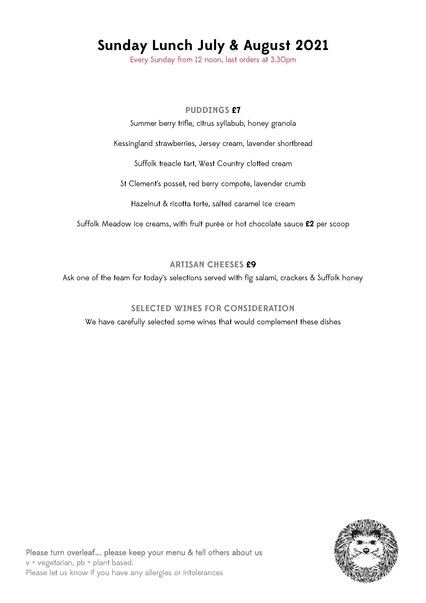 Sunday Lunch Menu July August 2