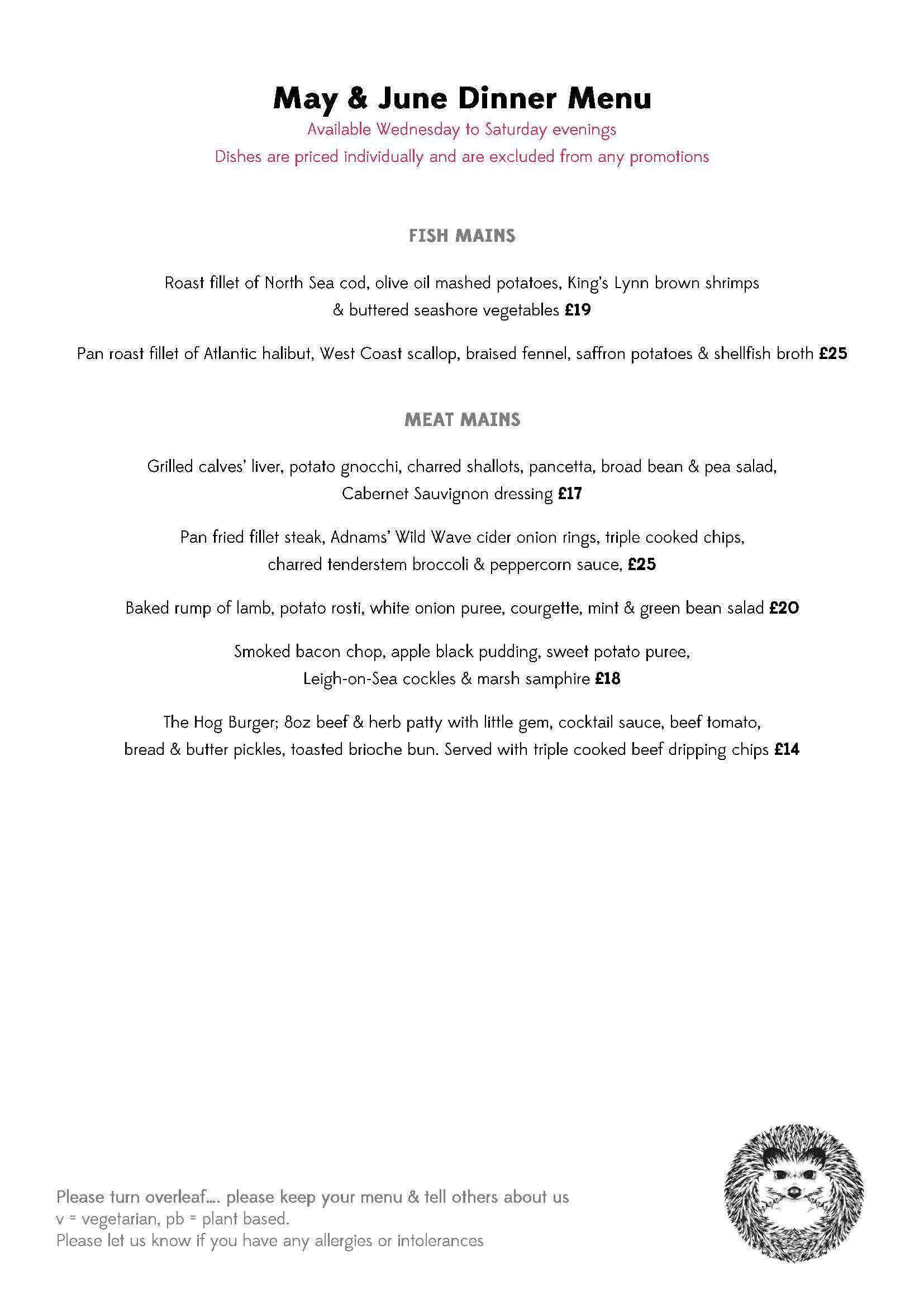 MAY JUNE Dinner Menu 3